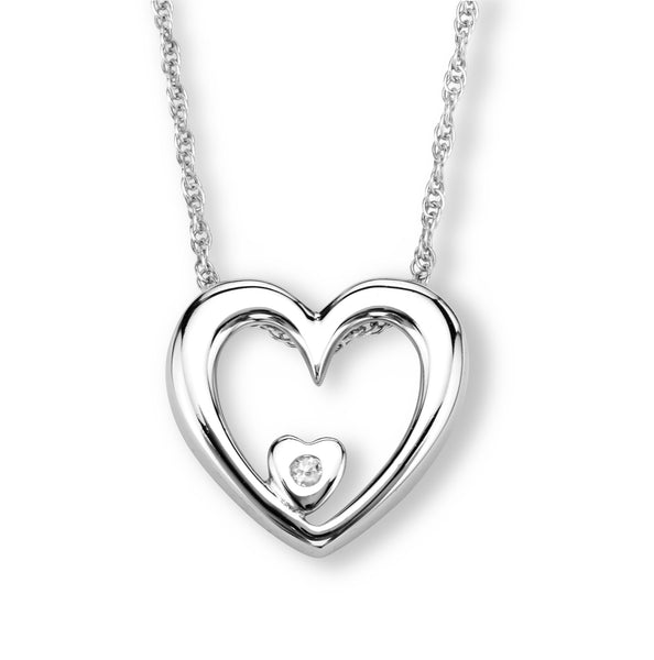 SS DIAMOND HEART OUTLINE NECKL
