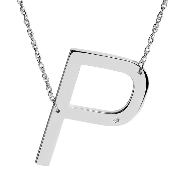 SS DIA 'P' INITIAL NECKLACE