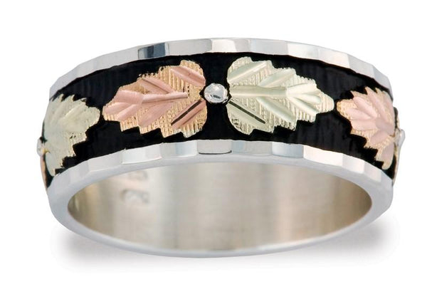 Black Hills Gold and Silver Ring MR1305 MTR L ANTIQUED BAND - Berg Jewelry & Gifts