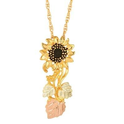 Black Hills Gold Pendant G20078 BHG SUNFLOWER PEND - Berg Jewelry & Gifts