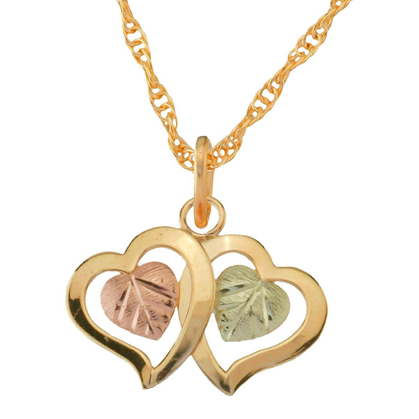 Black Hills Gold Pendant GC25028 2 BHG HEARTS PEND - Berg Jewelry & Gifts