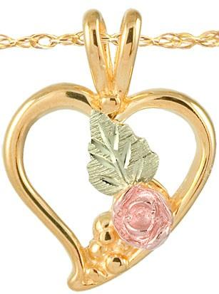 Black Hills Gold Pendant GSD20251 (80276) HEART/ROSE PD - Berg Jewelry & Gifts