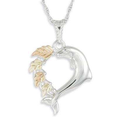 MR20054 G/S DOLPHIN HEART PEND - Berg Jewelry & Gifts