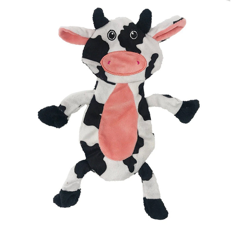"Dogline - 12"" Cow Crinkle Flat Dog Toy"