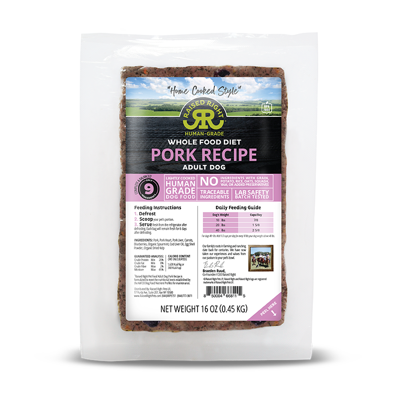 Raised Right - Pork Adult Dog Recipe - 2lb