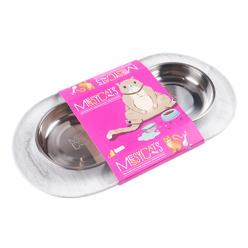 Messy Mutts - Cat Marble Double Silicone Feeder