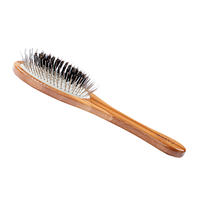 Bass Brushes - Wire/Boar Pet Groomer - Bamboo Wood Handle