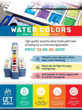 Load image into Gallery viewer, Color Swell Watercolor Paint Pack Wood Brushes 8 Colors