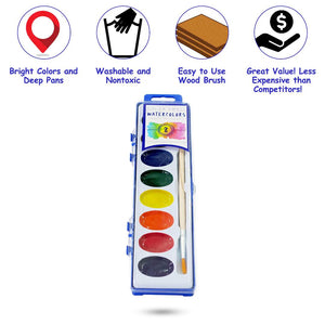 Color Swell Watercolor Paint Pack Wood Brushes 8 Colors