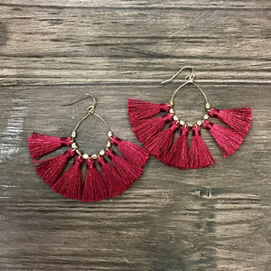 Bohemian Dangle Earrings - BURGUNDY