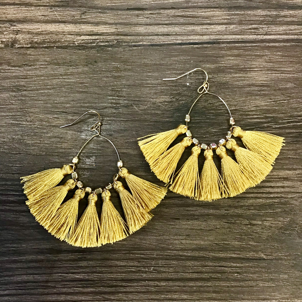 Bohemian Dangle Earrings - MUSTARD