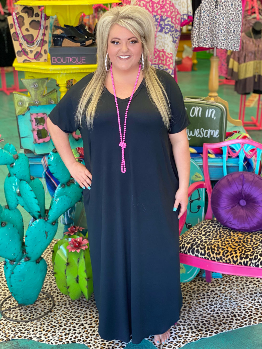 On The Sly Black Maxi Dress