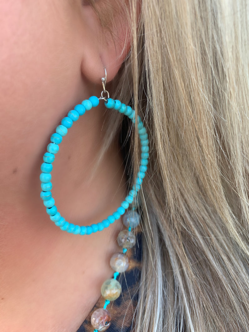 Going In Circles Turquoise Earrings