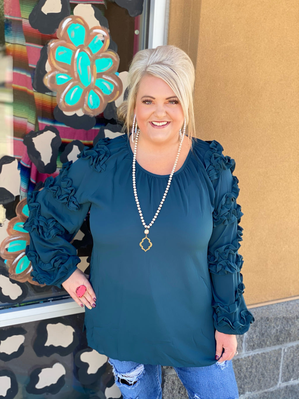 TEAL We Meet Again Ruffle Sleeve Blouse