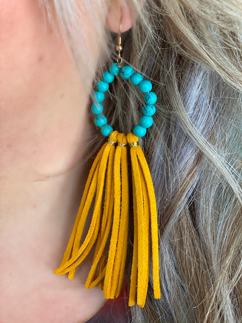 Fringe With Benefits Earrings - TURQUOISE/MUSTARD