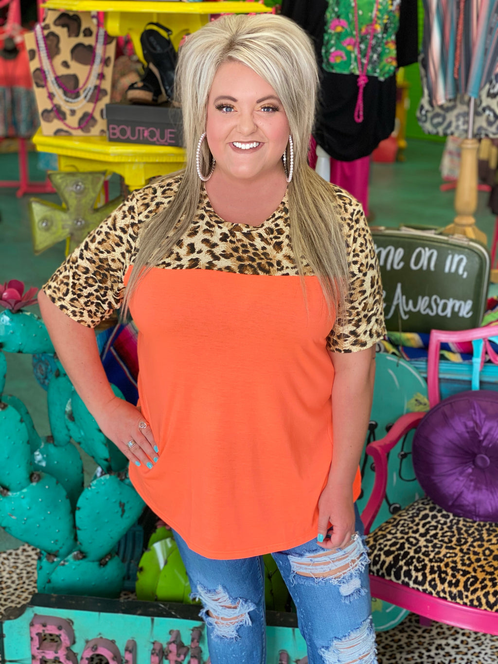 Neon Kitty Leopard Top - ORANGE
