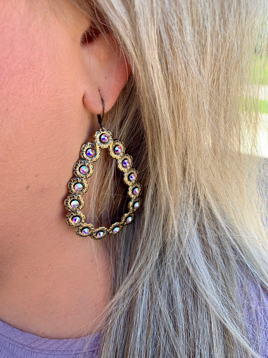**RESTOCK** Pink Panache Teardrop Earrings - BRONZE/IRIDESCENT
