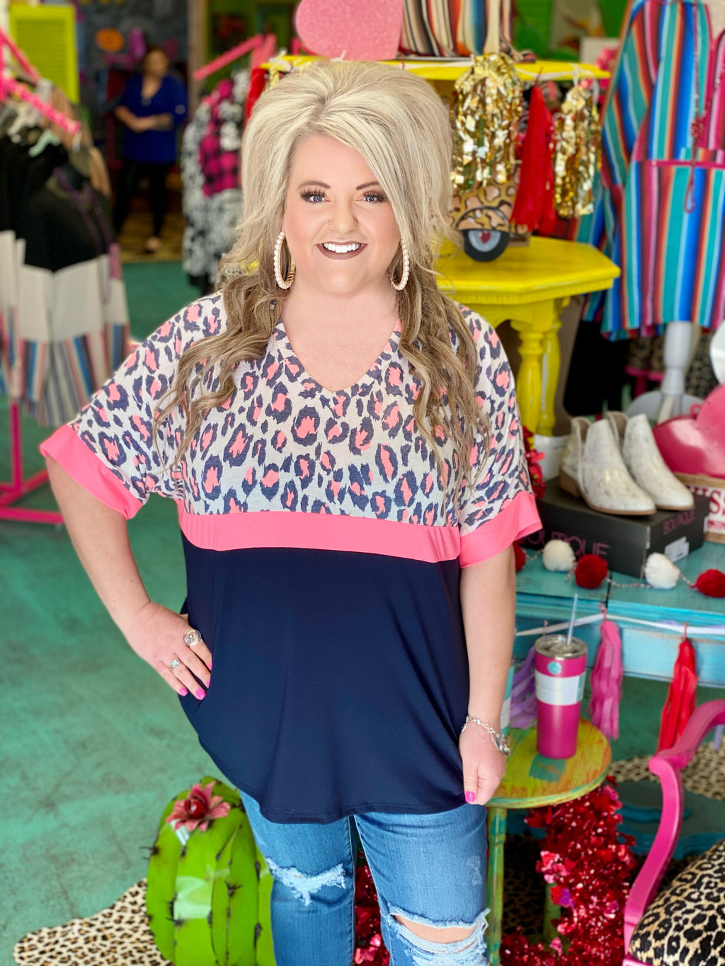 Neon Moves Navy Cheetah Colorblock Top