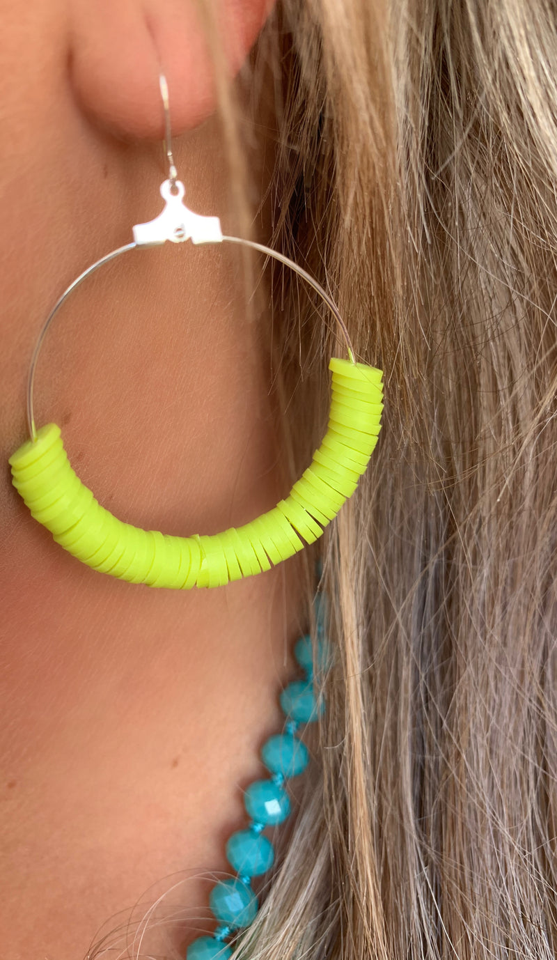 Merry Go Round Earrings - LIME GREEN