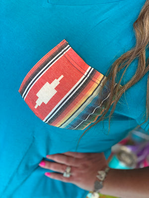 Casual Cutie Aztec Pocket Top - TURQUOISE