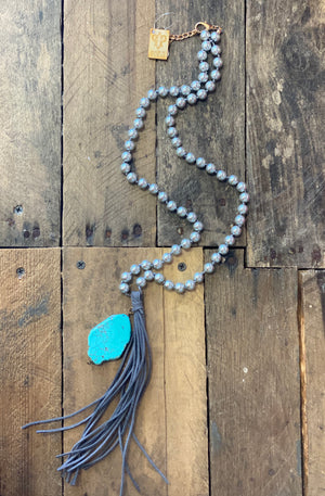 Pink Panache Turquoise Slab Necklace