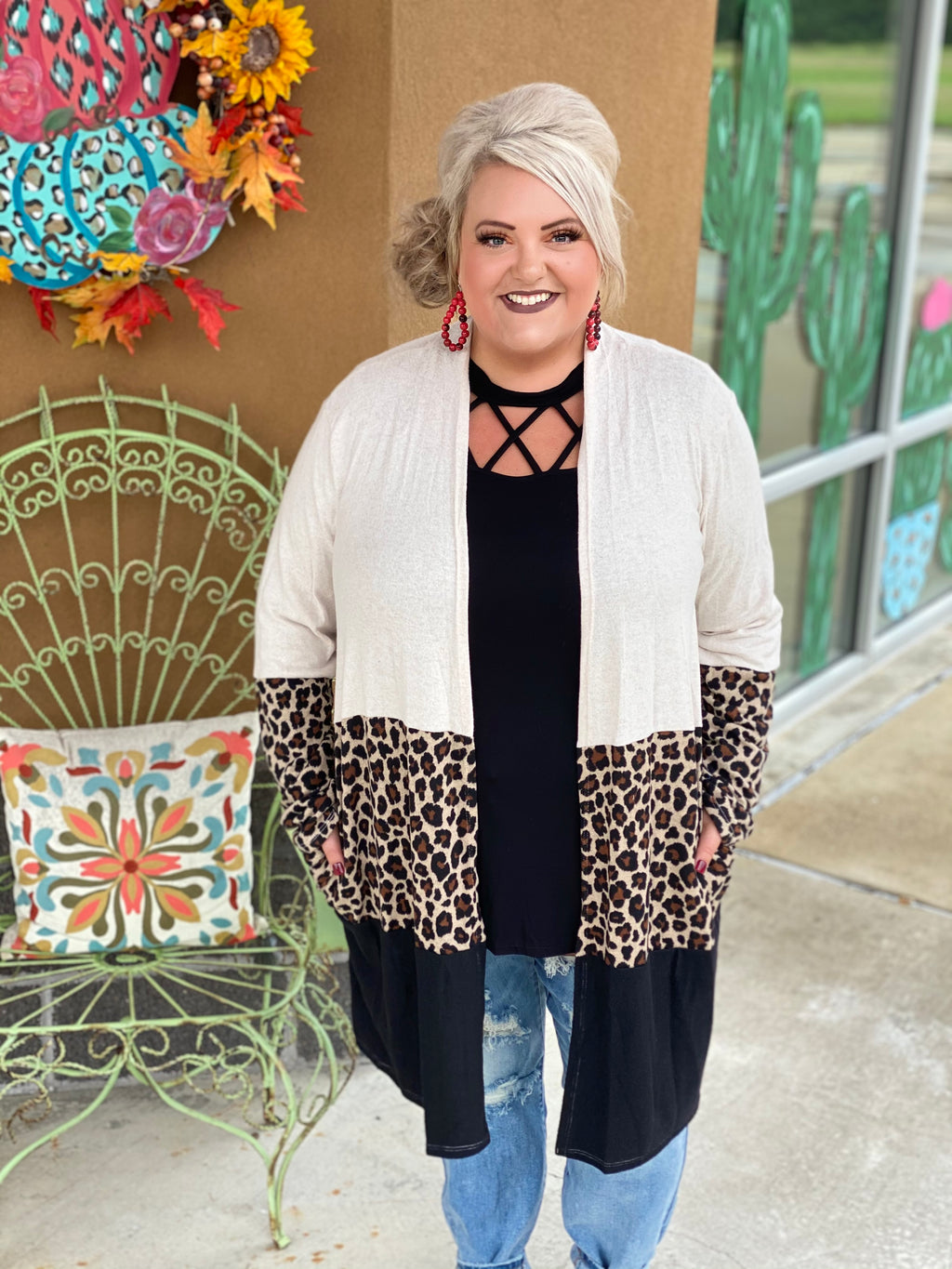 Triple Threat Leopard Colorblock Cardigan