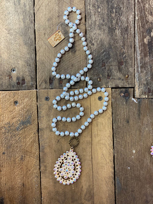 Pink Panache Pearl White Crackle Necklace