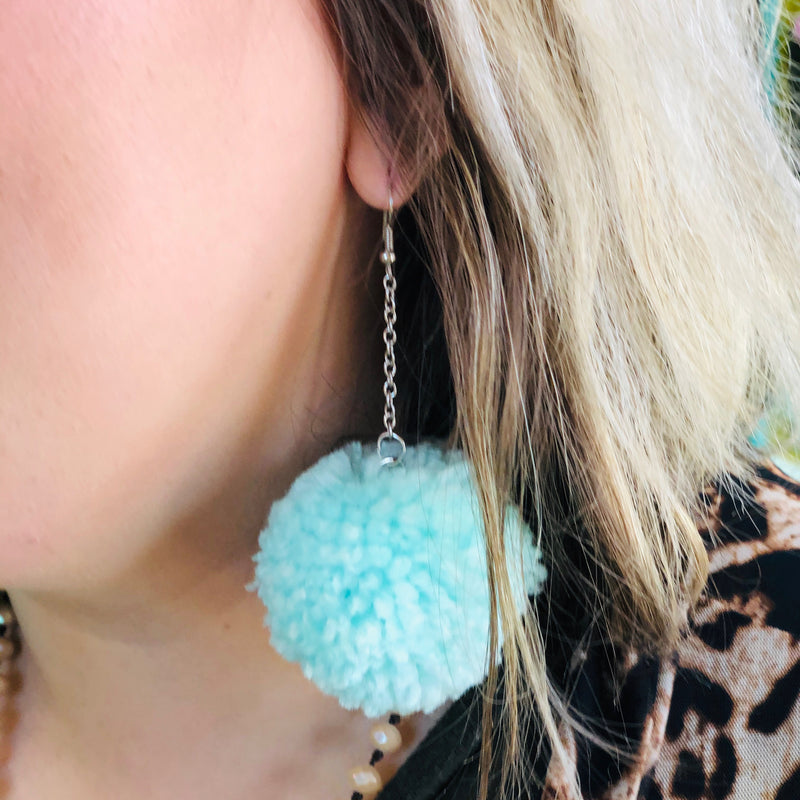 Polly PomPom Earrings - MINT