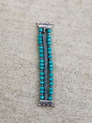 Teal Beaded Apple Watch Band
