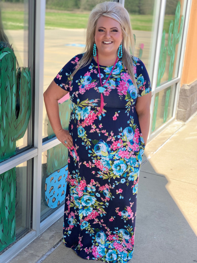 Fishing For Compliments Navy Floral Maxi