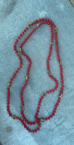 Lilleth Leopard Beads - Red