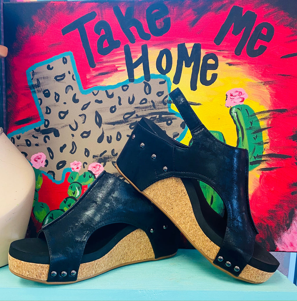 The Carley Wedges - Black Metallic
