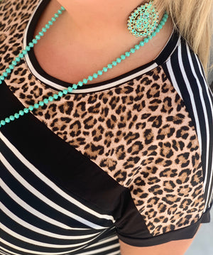 She's A Cougar Leopard Stripe Top