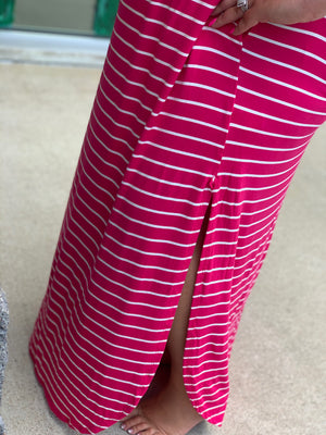 Get In Line Stripe Maxi - PINK
