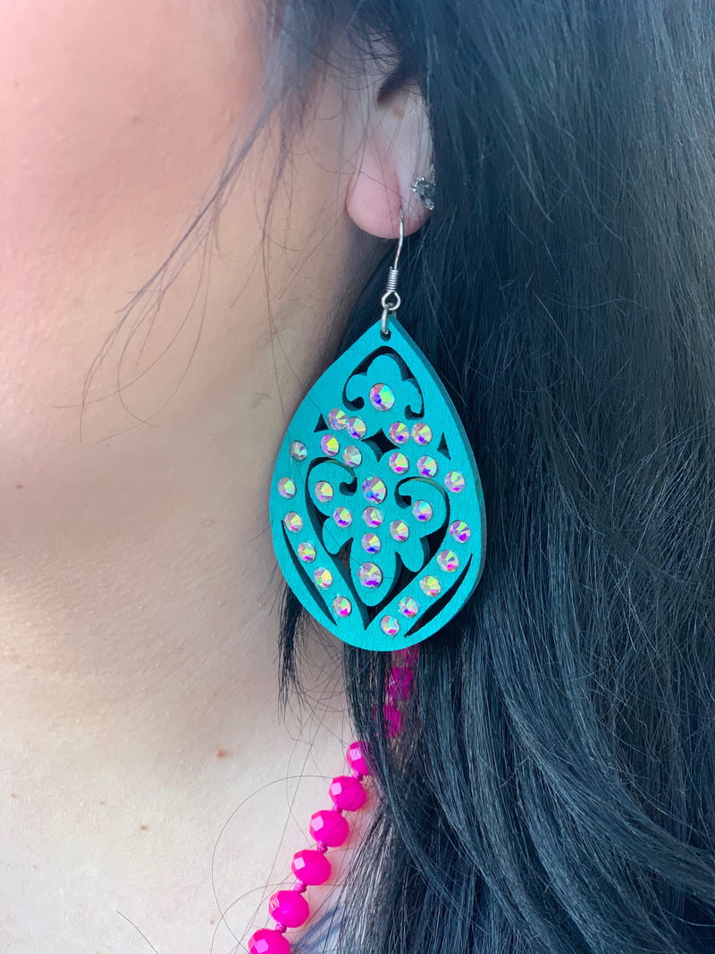 The Madison Wooden Rhinestone Earrings - TURQUOISE