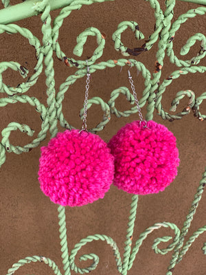 *RESTOCK* Polly PomPom Earrings - HOT PINK