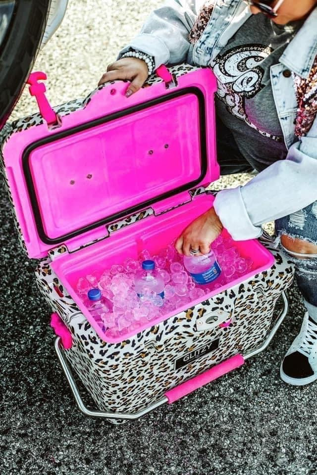 """High Maintenance"" Pink Leopard Cooler - 20 QUART - PREORDER! ESTIMATED SHIP DECEMBER!"