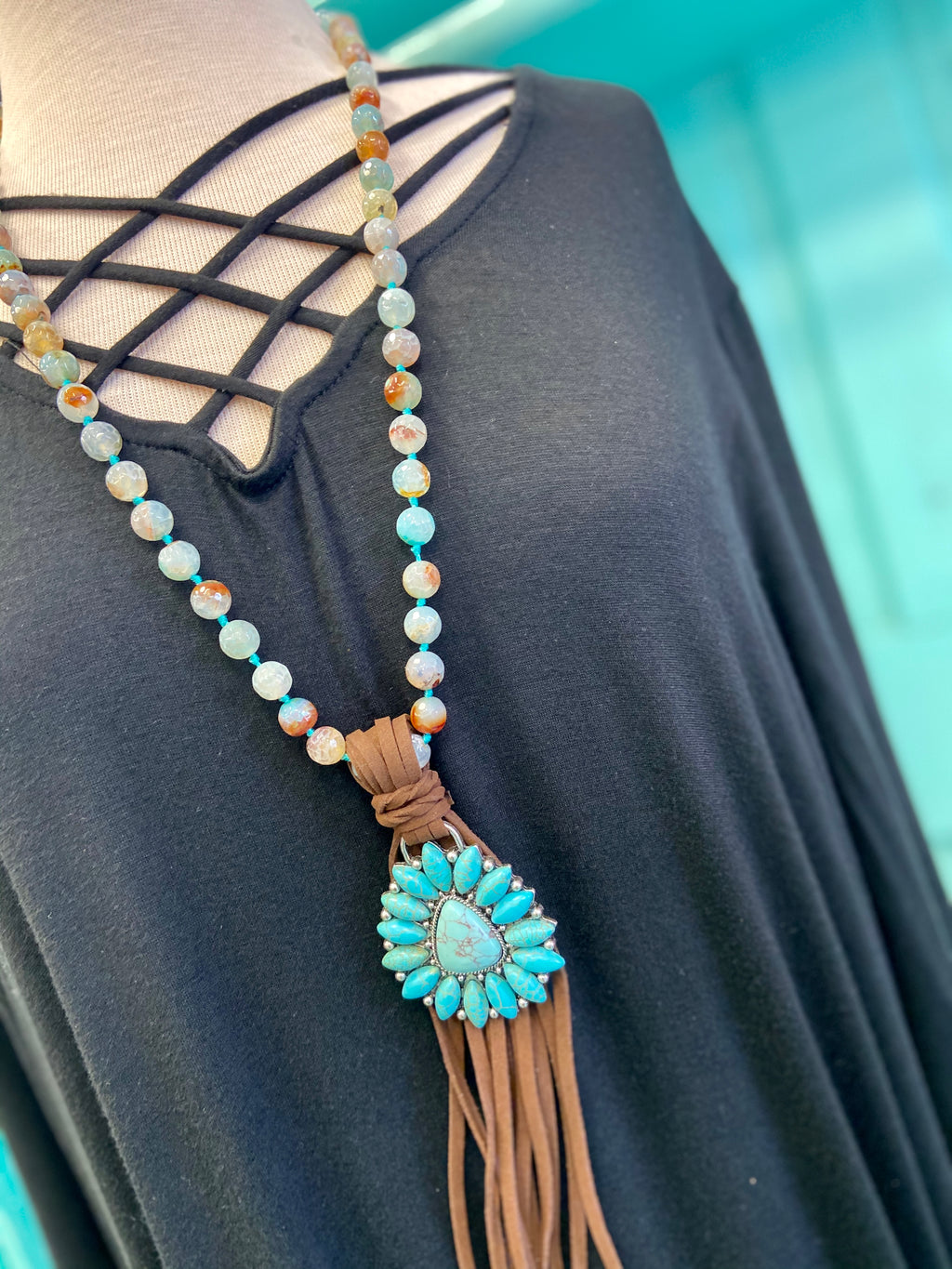 The Thalia Turquoise Cluster Fringe Necklace