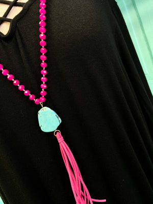 The Tilly Turquoise Fringe Necklace - PINK