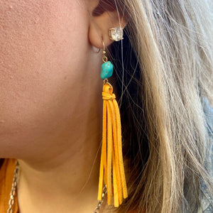 The Tilly Turquoise Fringe Earrings - YELLOW