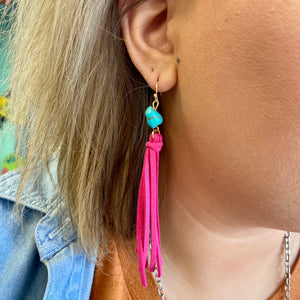 The Tilly Turquoise Fringe Earrings - PINK
