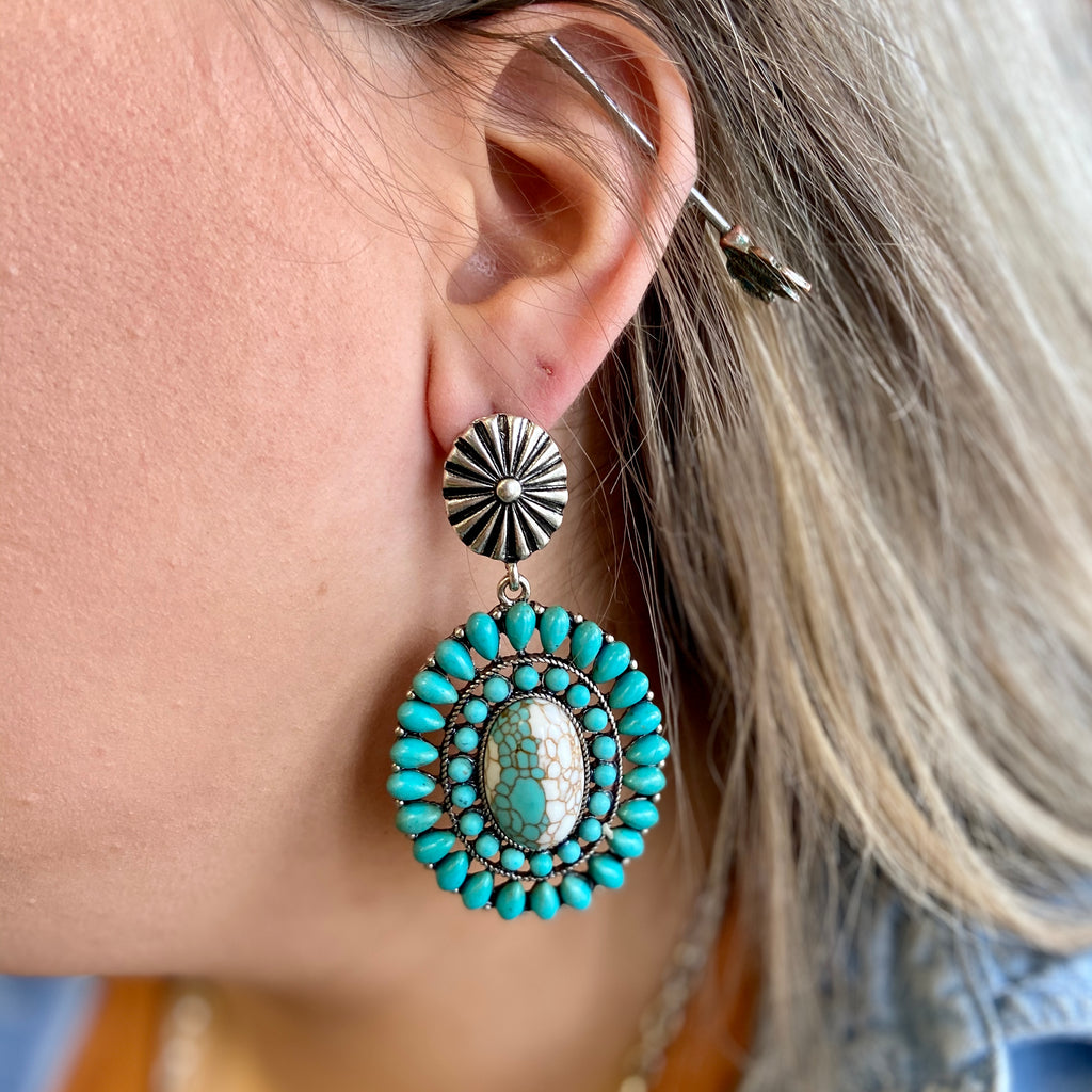The Sutton Teal Pendant Earrings