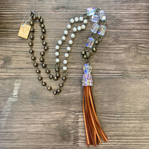 Pink Panache Bronze/Iridescent Tassel Necklace