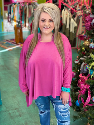 Simply Stated Oversized Blouse - PINK