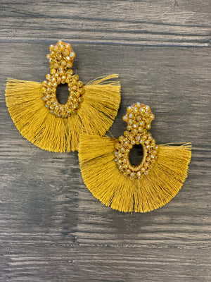 Mustard Bead Fringe Earrings