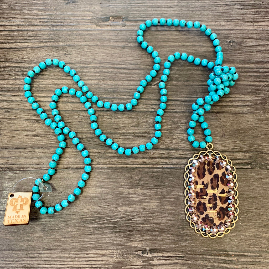 Pink Panache Turquoise Leopard/RG Necklace