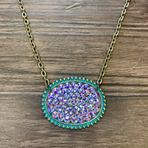 Pink Panache Teal/Iridescent Oval Necklace
