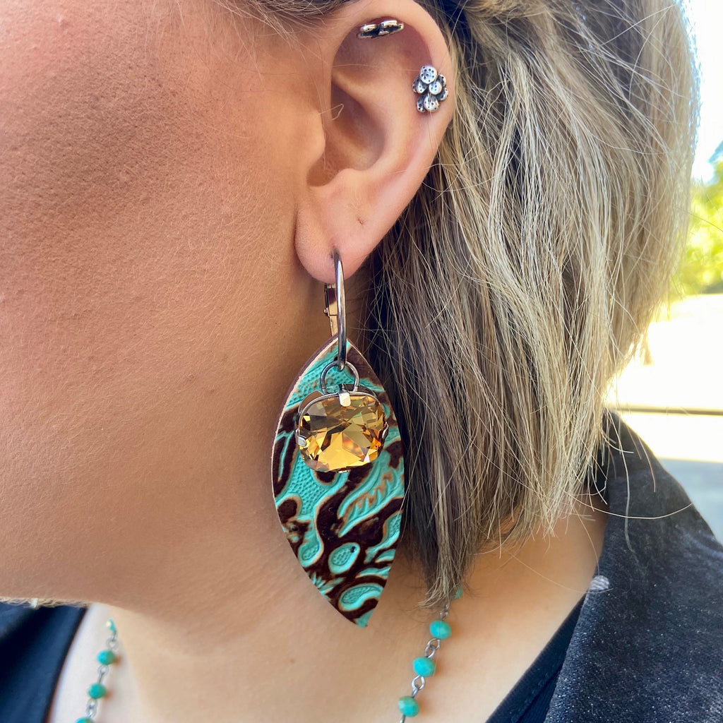Turquoise Leather Topaz Stone Earrings