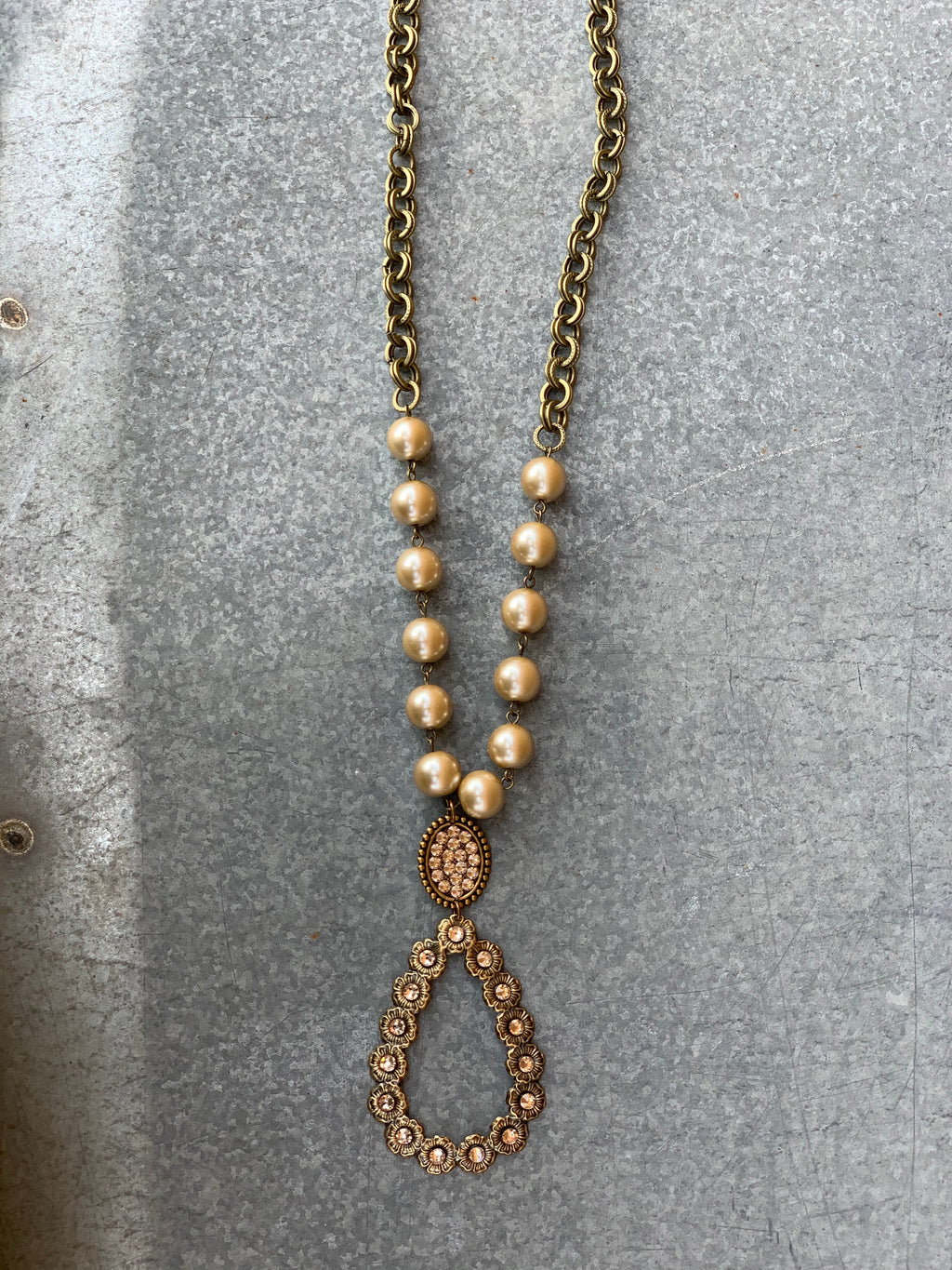 Pink Panache Teardrop Necklace - BRONZE/LIGHT SILK