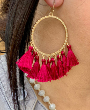The Louise Fringe Tassel Hoop Earrings - WINE